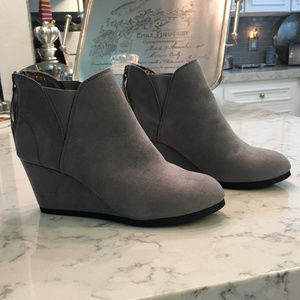 Maurices Gray Suede Wedge Bootie NWT